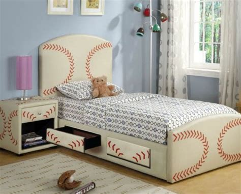 baseball themed bedroom check out that bed love the night stand and could also