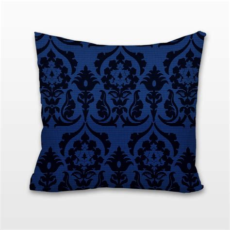 Blue Damask Pillow navy blue damask cushion pillow chelsea needlepoint
