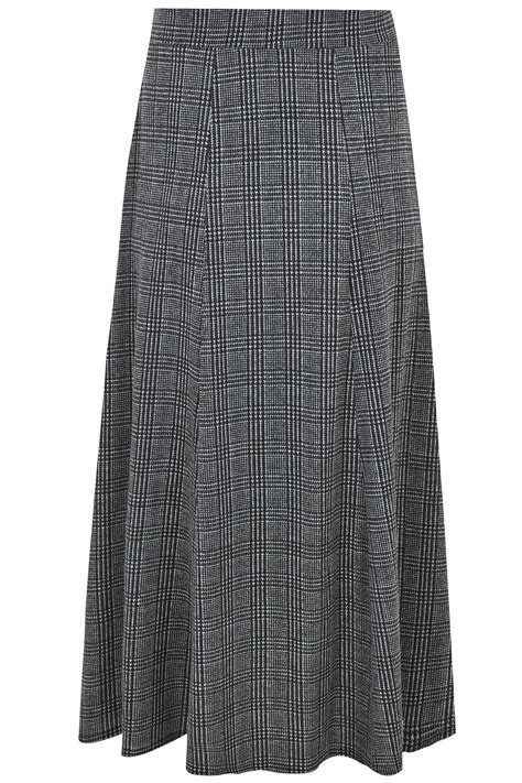 Gap Vertical Black Grey T3010 black grey tooth check maxi skirt plus size 16 to 36