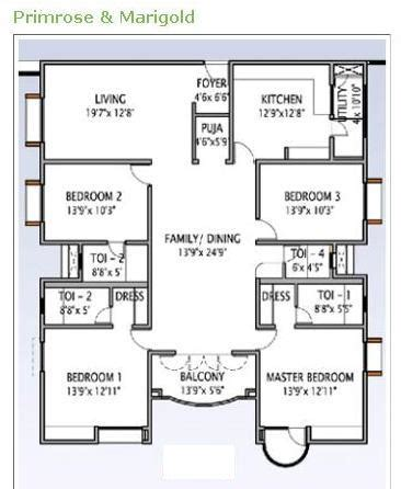 3 Bhk Apartment Floor Plan by Overview Serene County Gachibowli Hyderabad L Amp T