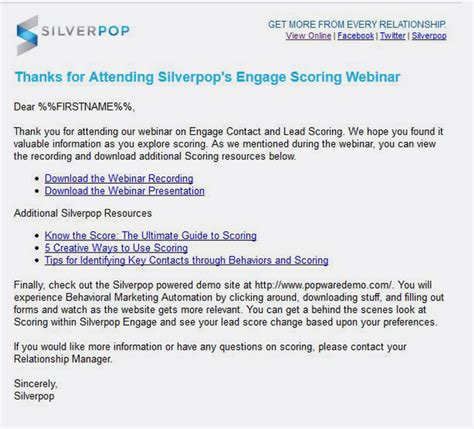 thank you for registering email template silverpop pre and post webinar marketing like a pro