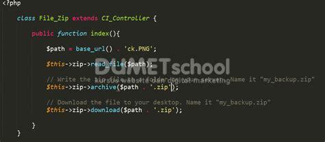 membuat website menggunakan codeigniter cara membuat file zip menggunakan codeigniter