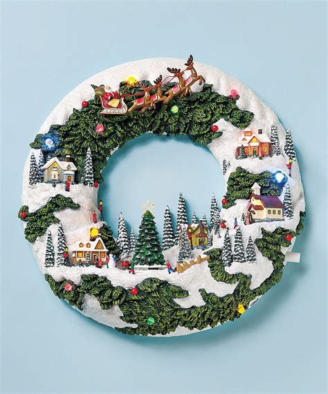 musical christmas wreath christmas village scene
