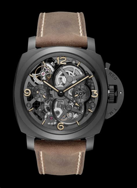 Luminor Panerai Turbilon Angka Black 1 officine panerai luminor 1950 tourbillon gmt ceramica pam 00528 time and watches the