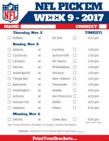 Office Football Pool Week 9 Printable Nfl Week 9 Schedule Em Pool 2017