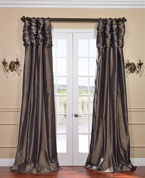 ruched drapes mushroom ruched faux solid taffeta curtain contemporary