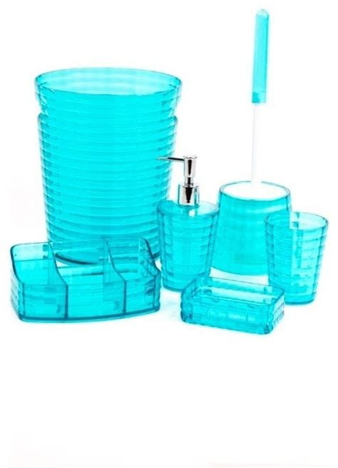 turquoise bathroom sets gedy turquoise 6 piece bathroom accessory set reviews