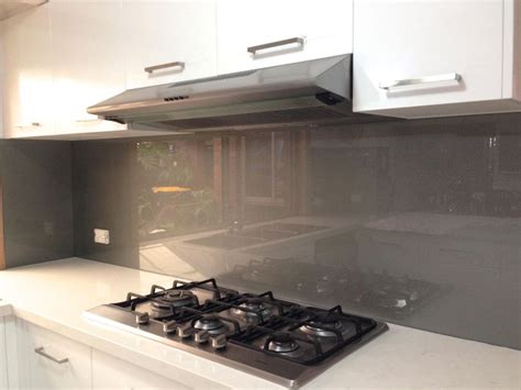 splashback ideas for kitchens metallic charcoal coloured glass splashbacks