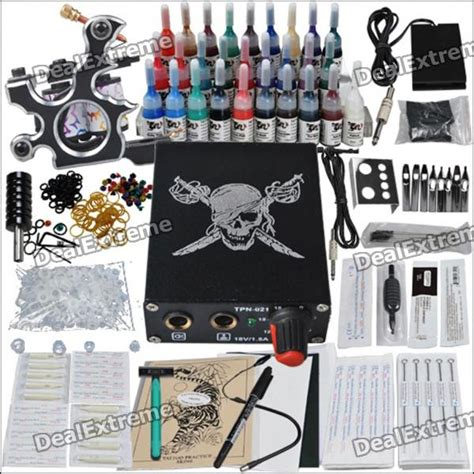 tattoo equipment canada complete 1 tattoo gun color ink power supply needles set