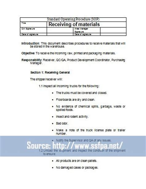 warehouse sop template 40 professional standard operating procedures templates in