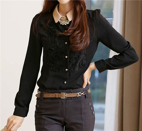 Shjt217080861342 Kemeja Hitam Baju Import kemeja hitam wanita brokat model terbaru jual murah import kerja
