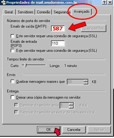 porta mail configurando e mail no outlook express 6 hospedagem de