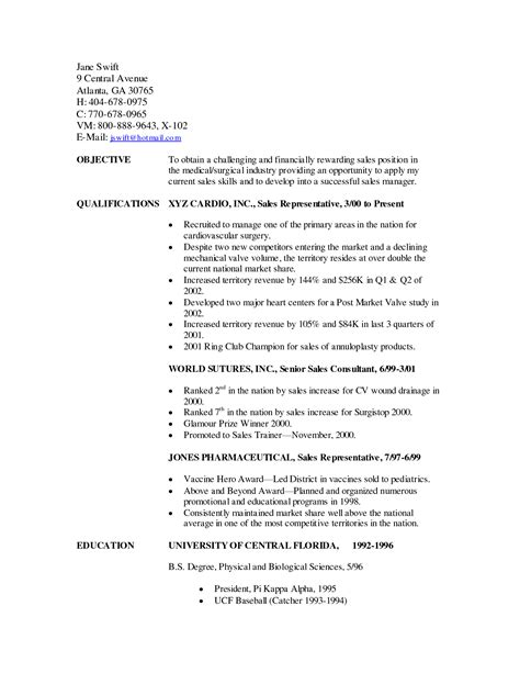 sle resume for sales representative sle sales representative resume 6 outside sales resume