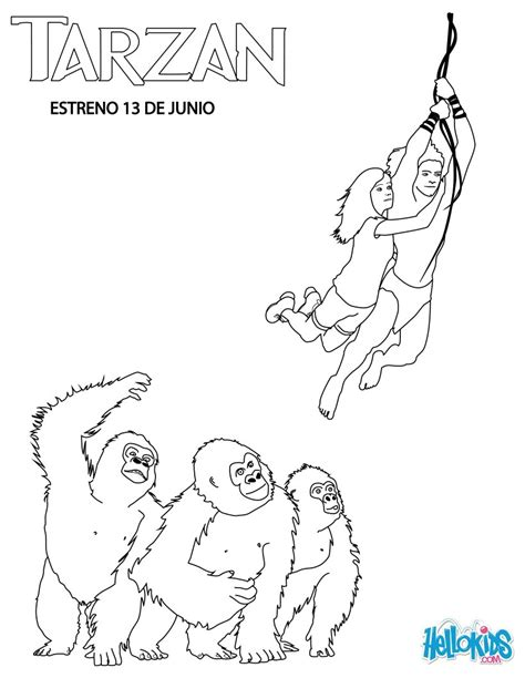 gorilla family coloring page tarzan jane with gorillas coloring pages hellokids com