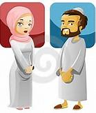 Muslim Couple Cartoon