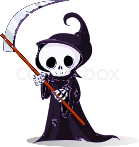 cute cartoon grim reaper with scythe isolated on white
