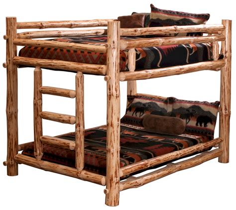 Log Bunk Beds by Draw Knifed Pine Log Bunk Bed For Adults And Children