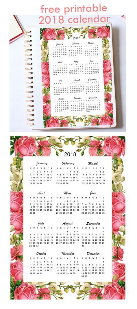 Calendar 2018 Uq Free Printable 2018 Calendar Quot Roses Quot Year At A Glance