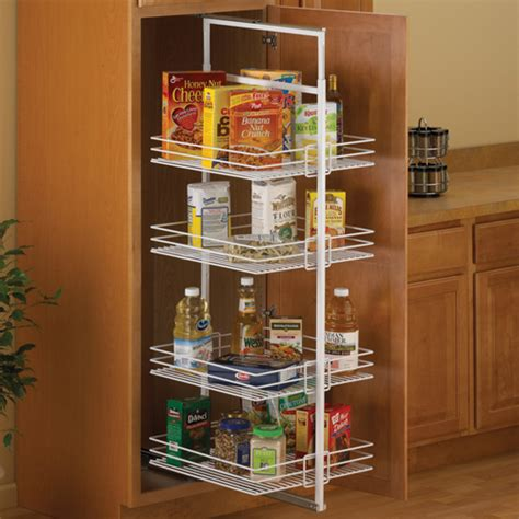 kitchen cabinet organization systems center mount pantry roll out system white in pull out