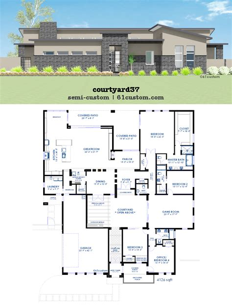 contemporary courtyard house plan 61custom modern courtyard house plan 61custom contemporary luxihome luxamcc