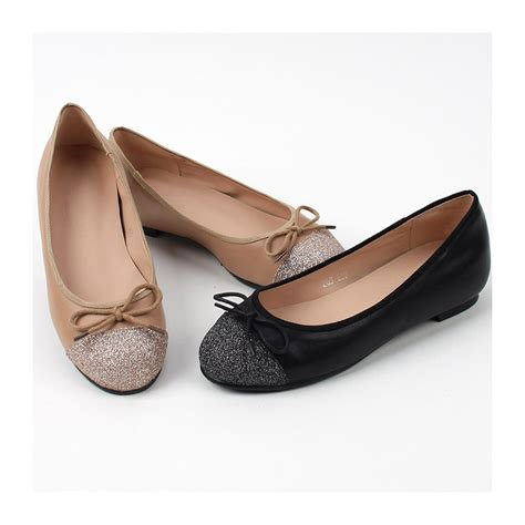 Flatshoes Ribbon Black s synthetic leather glitter toe ribbon flat shoes