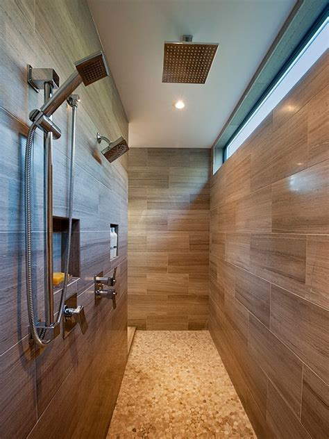 wood tile shower bathroom contemporary  shelf modern