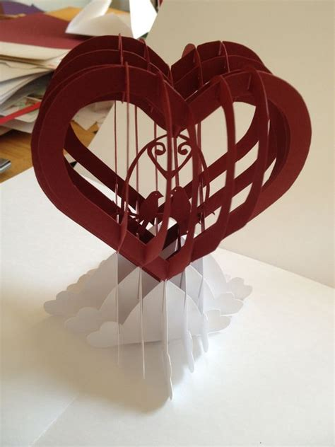 3d valentines card template with birds slice form pop up card template from papercrafts and other