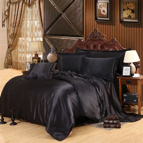 custom made black luxury bedding sets solid satin 4 pcs