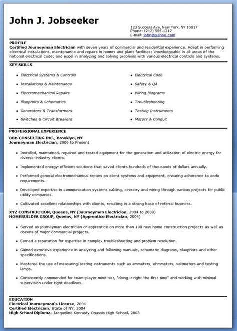 Resume For Electrician by Journeyman Electrician Resume Sles Creative Resume