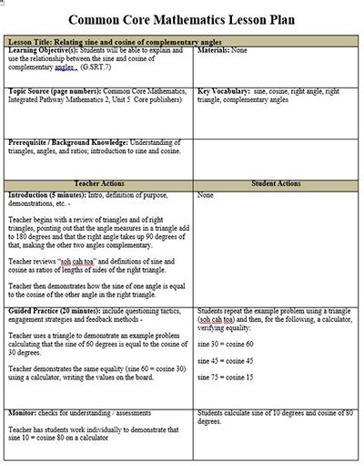 common lesson plan templates common math lesson plan template free