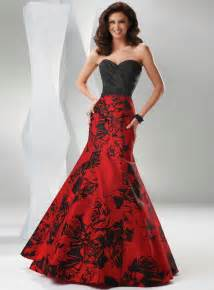 Modern wedding dresses with color red and black design concept