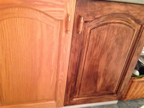 gel stain colors for maple cabinets old oak cabinet on left and stained with minwax gel stain