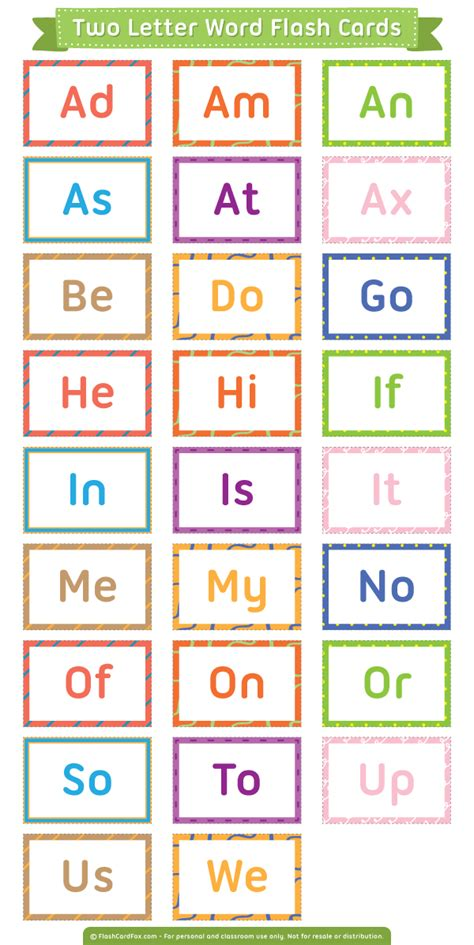 6 Letter Words With Ff In Them Free Printable Two Letter Words Flash Cards Them