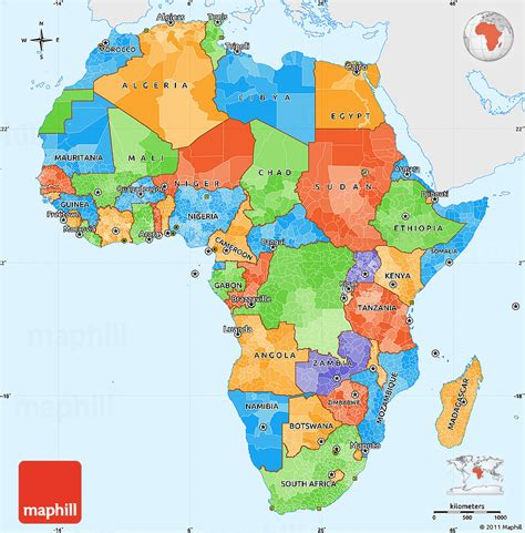 colors of africa color blank map africa political