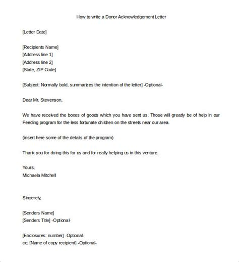 donor acknowledgement letter template 31 acknowledgement letter templates free sles