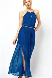 Blauwe chiffon maxi jurk met gouden ketting lc6146 2 4