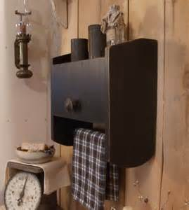 Primitive bathroom cabinet towel rack toilet paper storage original