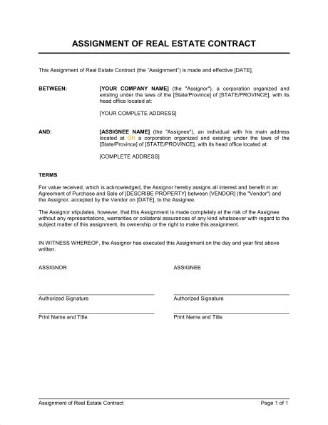 Contract Assignment Letter Assignment Of Real Estate Contract Template Sle Form Biztree