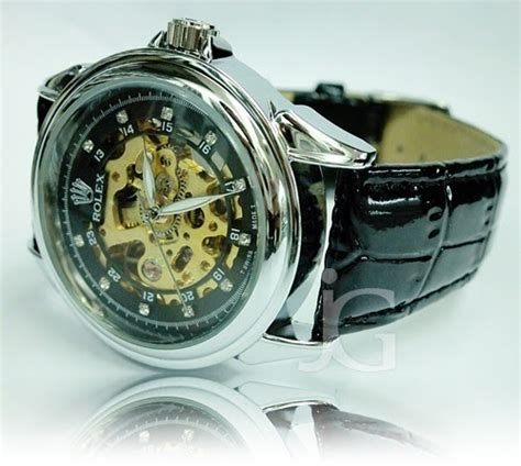 Jam Rolex Leather rolex skeleton leather rp 175 000