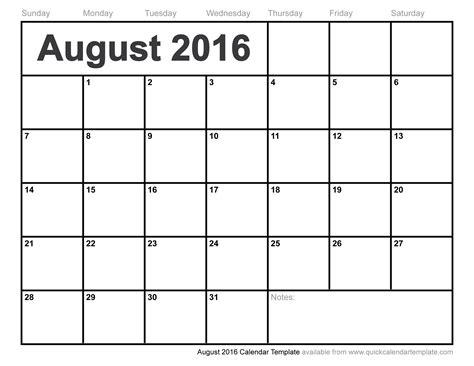 Calendar August 2016 August 2016 Calendar Template