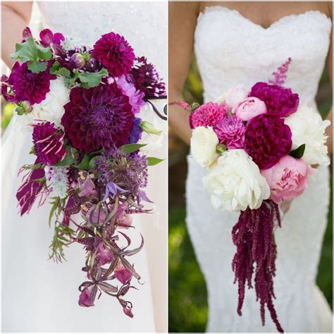 Hanging Bouquet by Cascading Explosion Of Violet Bridal Bouquets Peonies