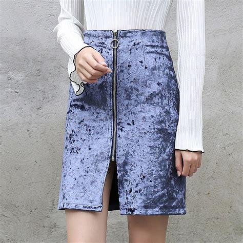 Buy 1 Skirt Get 1 Velvet Wide Skirt aliexpress buy yichaoyiliang s high waist velvet skirt front slit zipper closure