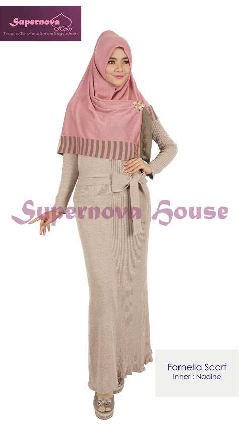 Cetakan Coklat Plastik Muslim Muslimah fornella scarf pink dusty coklat baju muslim gamis modern