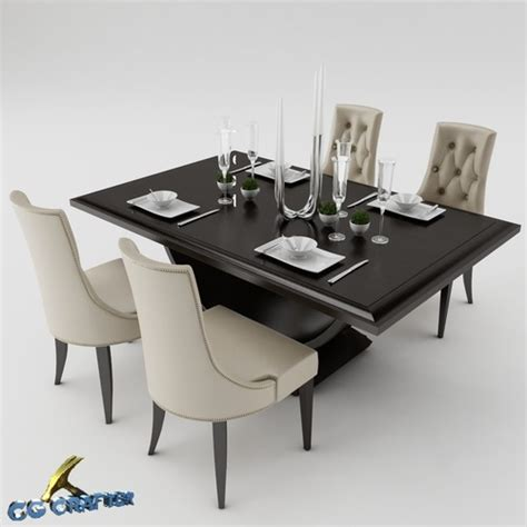 Dining Table Models 3d Model Dining Dining Table Set Cgtrader