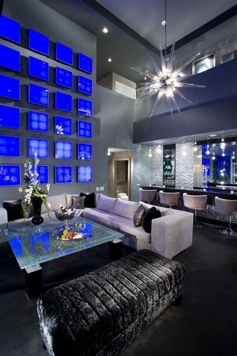 livingroom club masculine interior design glammed out interior design cobalt blue gray black silver hues re