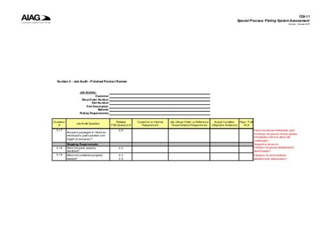section five cqi 11 plating system assessment section 5 job audit