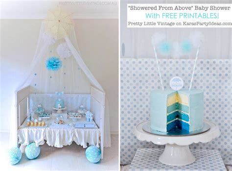Showered from above rain themed baby shower with free printables via