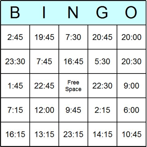 printable board games time times in 24 hour clock easy bingo cards printable bingo