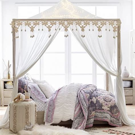 bed frame with canopy costa canopy bed pbteen