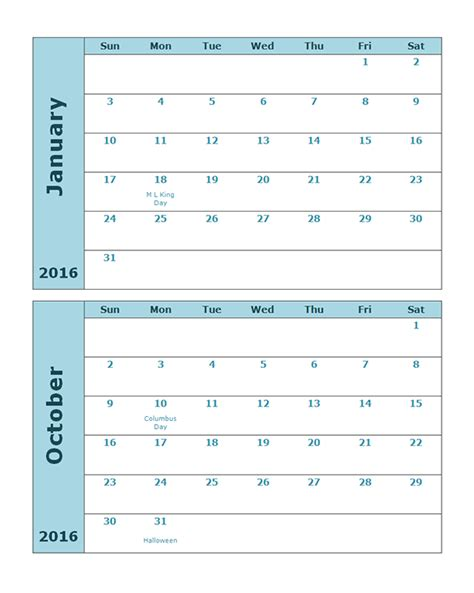 printable quarterly calendar 2016 2016 monthly calendar template 20p free printable templates